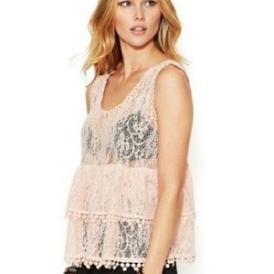 Free People Peach Daydream Tiered Tank S
